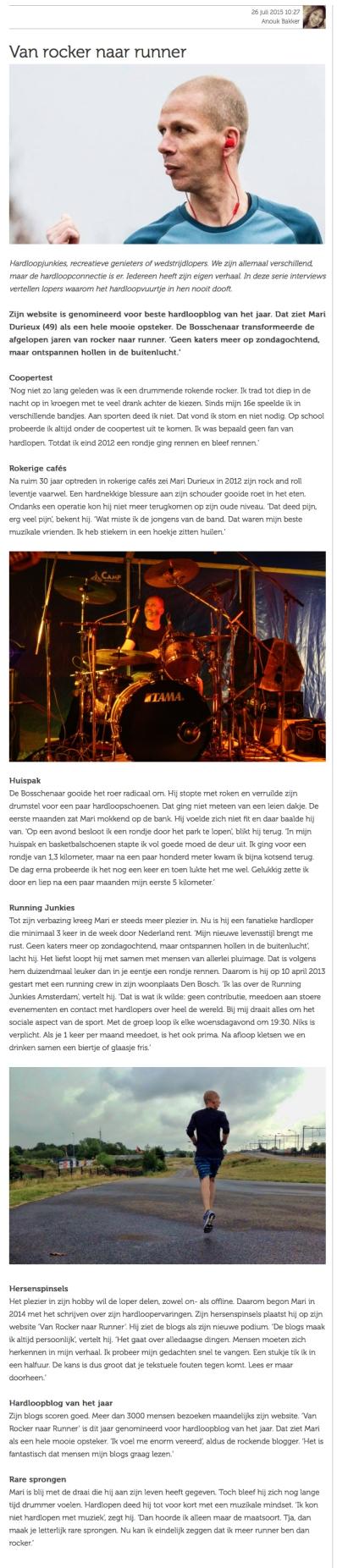 Interview door Anouk Bakker gepubliceerd op ProRun