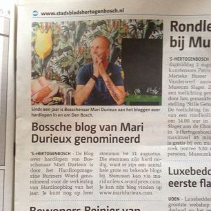 krantenartikel over mijn Blog nominatie