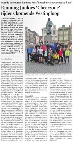 Krantenartikel rond de Vestinloop in Den Bosch