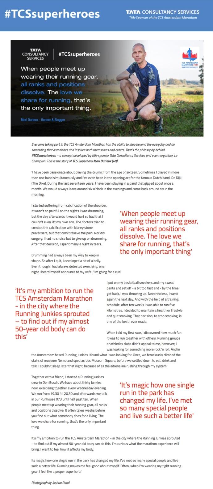 Super hero voor TCS Marathon Amsterdam