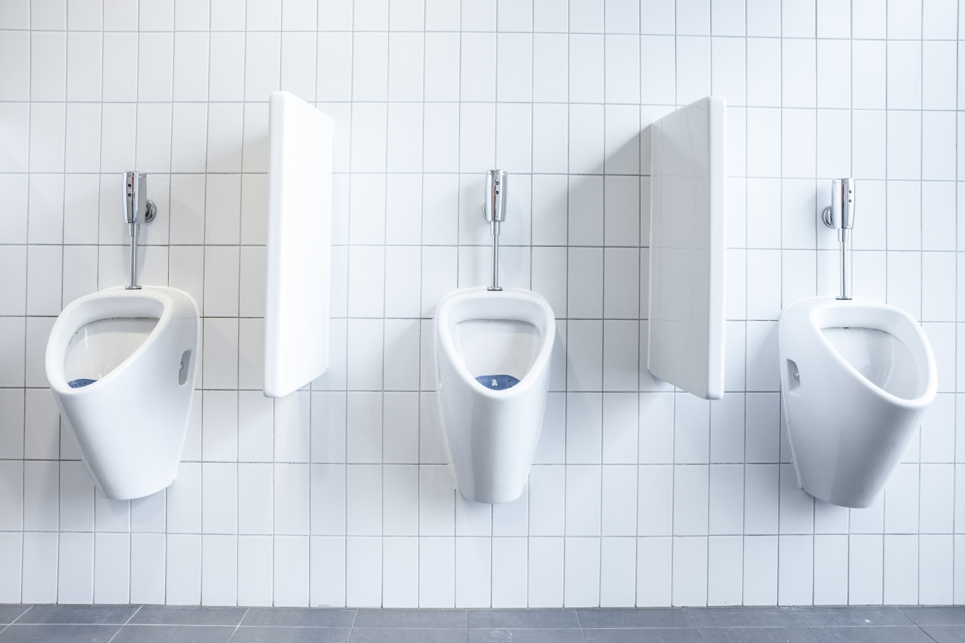 urinal on the wall
